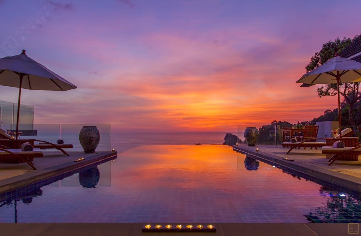泰国普吉岛萨姆萨拉-洛梦池别墅夕阳
